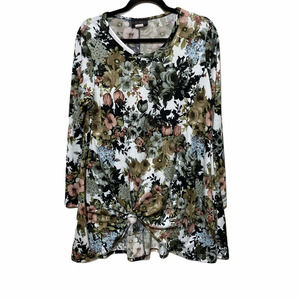 Discreet Floral Knot Front Blouse Tunic